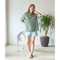 UNIVERSAL OVERALL × JACK & MARIE LINEN MIX OPEN COLOR SHIRT (2Colors)(ユニバーサ...