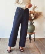 Marie Miller HIGH WAIST OVER WIDE DENIM PANTS(3colors)(マリーミラー ハイウエストオーバーデニムパンツ)(Women's)(BLUE,INDIGO BLUE,OFF WHITE)