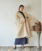 Marie Miller POODLE FUR LONG COAT(2Colors)(マリーミラー ファーロングコート)(Women's)(OFF WHITE,GREEN)