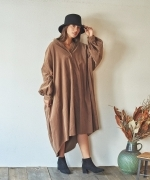 Marie Miller CORDUROY SHIRT DRESS(3Colors)(マリーミラー コーデュロイシャツドレス)(Women's)(LIGHT GRAY,KHAKI,CHARCOAL GRAY)