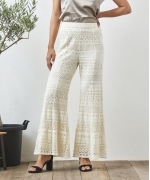 Sara Mallika LACE BORDER PANTS(ECRU)(サラマリカ レースボーダーパンツ)(Women's)(20602819)
