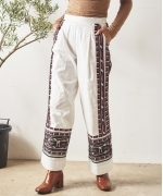 Sara Mallika COTTON LINE EMB PANTS(WHITE)(サラマリカ コットンリネンパンツ)(Women's)(20602798)